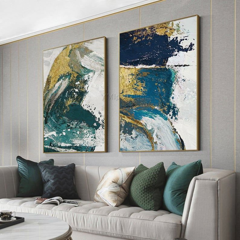 Set Of 3 Wall Art Framed Painting Gold Emerald Green Blue Etsy Teal Art Abstract Canvas Painting Abstract
