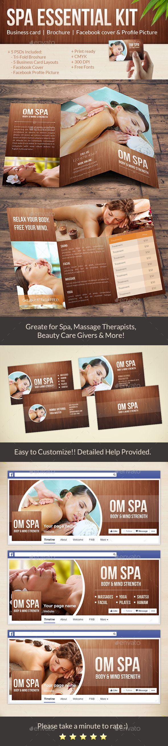 Beauty & Spa Pack: Tri-Fold Brochure, Business Cards, Facebook Cover ...