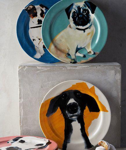 "Anthropologie Plate SALLY MUIR Dessert DOG-A-DAY Dalmation Stoneware 8.5/"" NIB"