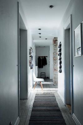 Hallway, love the wood floor color