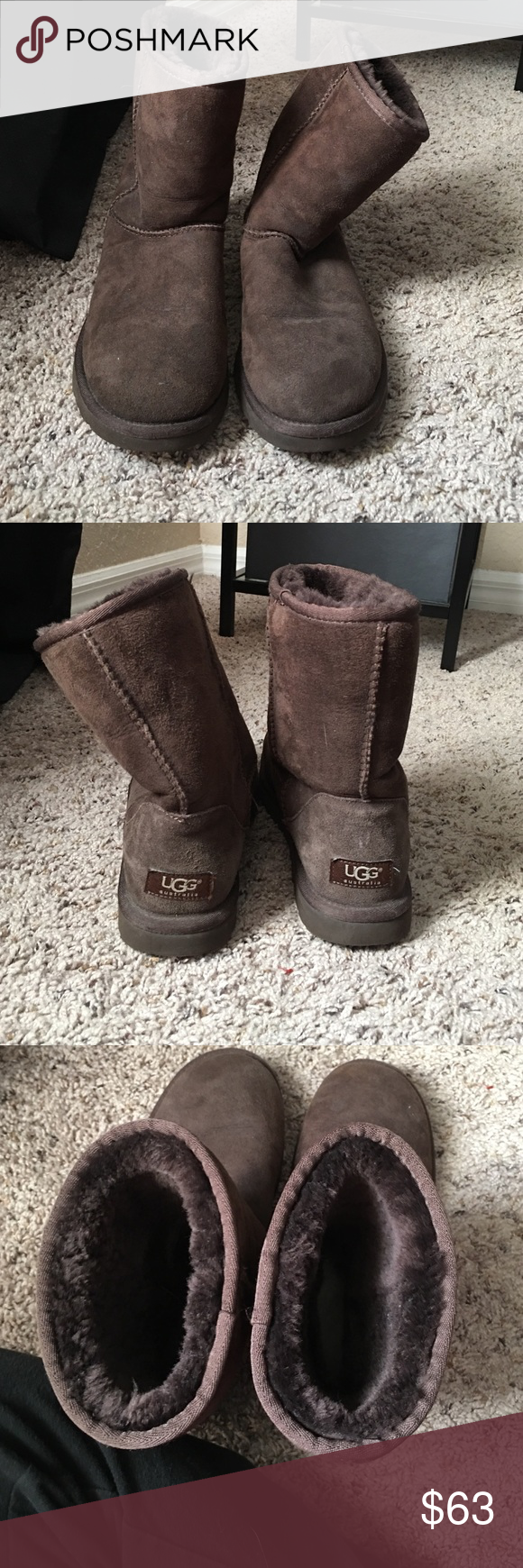 Ugg Women's classic short Hardly worn chocolate colored classic short ugg. Authentic. Great conditions moved to Florida and don't need them anymore! UGG Shoes