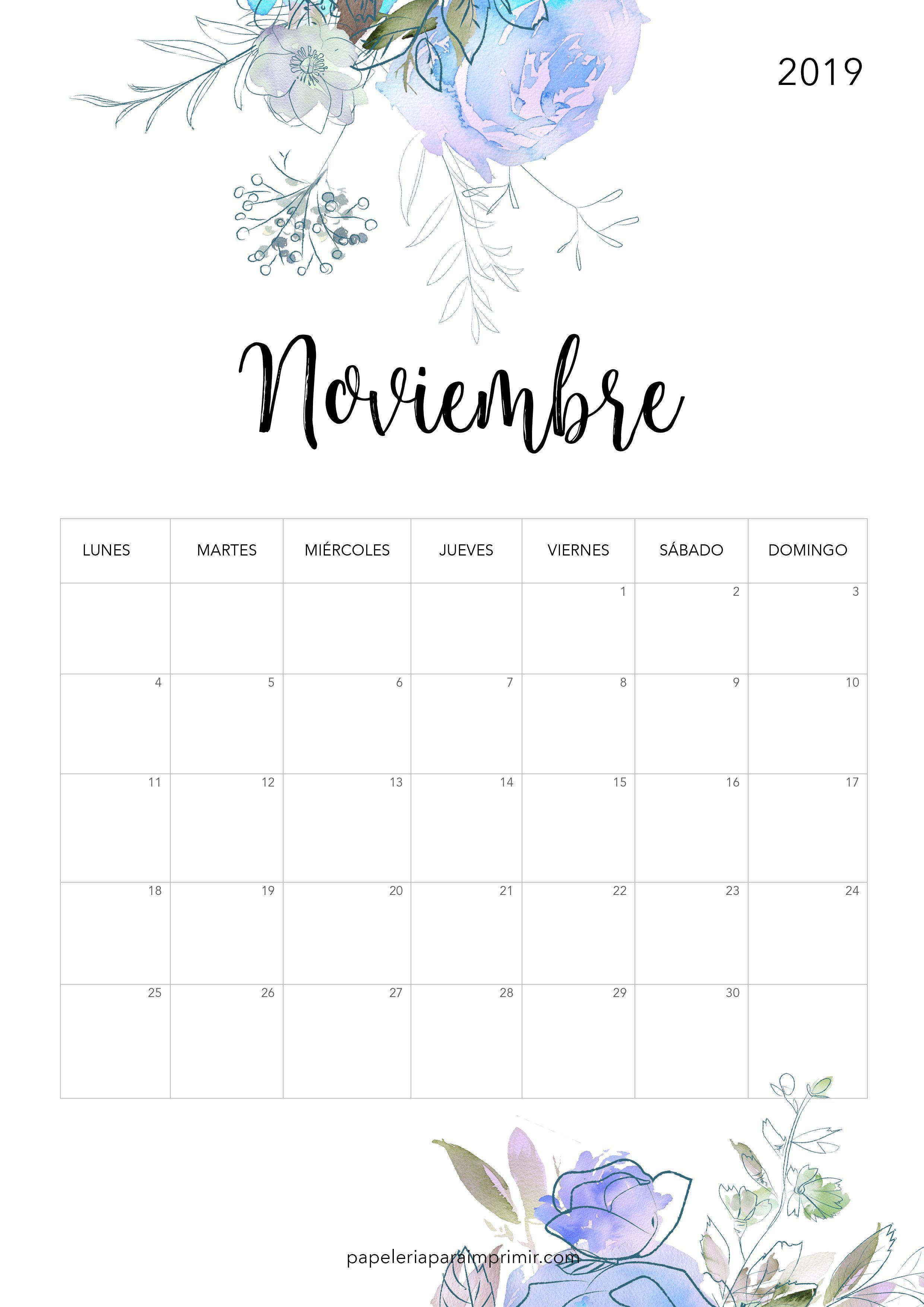 Calendario Noviembre 2019.Calendario Para Imprimir 2019 Noviembre Calendario Imprimir