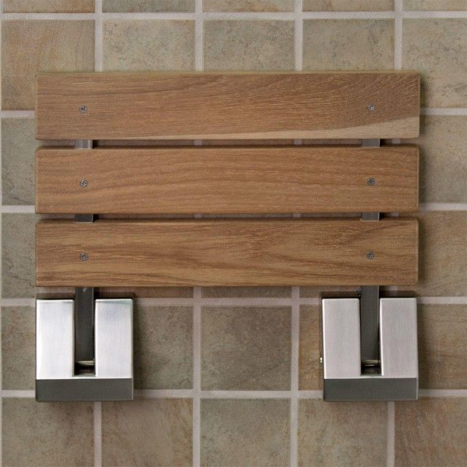 Wall-Mount Teak Folding Shower Seat | Bath, Brushed nickel and ...