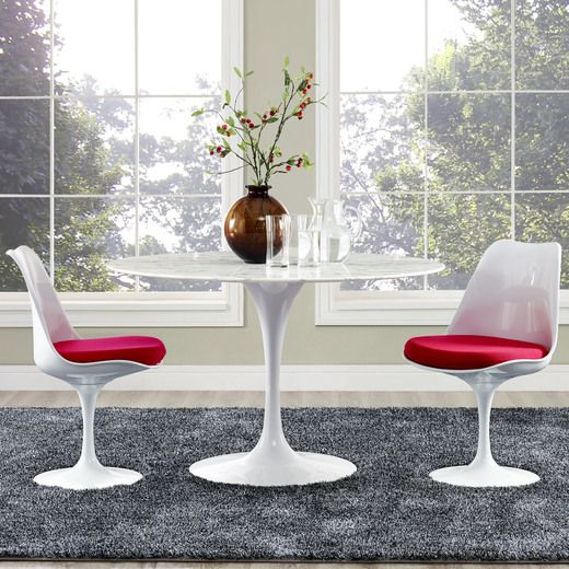 Modway Lippa 47 Artificial Marble Dining Table In White Dining