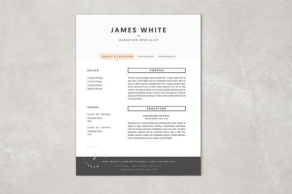 Resume Template James Resume Templates on Creative Market