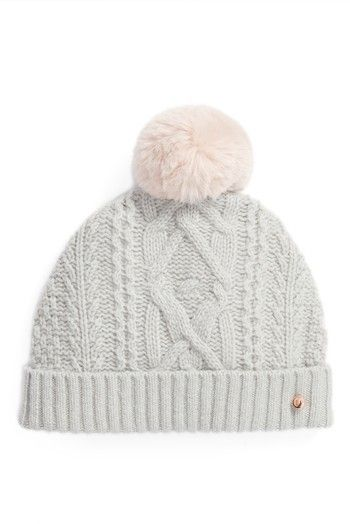 00d39d4d9 Ted Baker Cable Knit Faux Fur Pompom Beanie | Products | Knitted ...