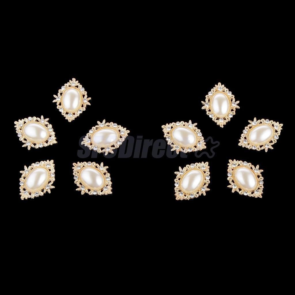 10x Crystal Pearl Flatback Buttons Embellishment Jewelry Making Accessories