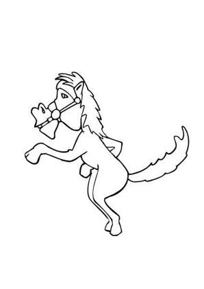 ausmalbild karikatur dressiertes pferd zum ausmalen. #