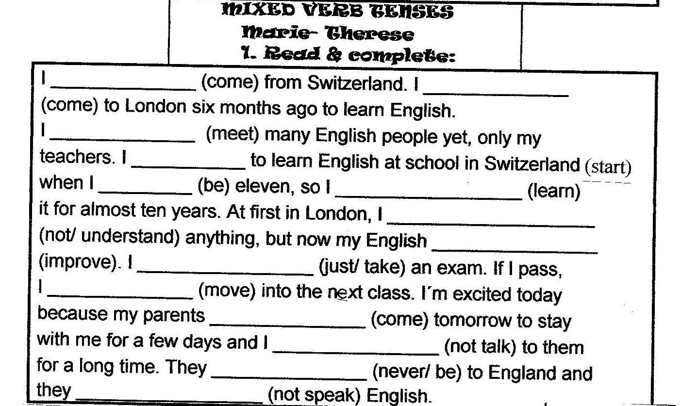 Fine Verb Tenses Worksheets For Fifth Grade That You Must