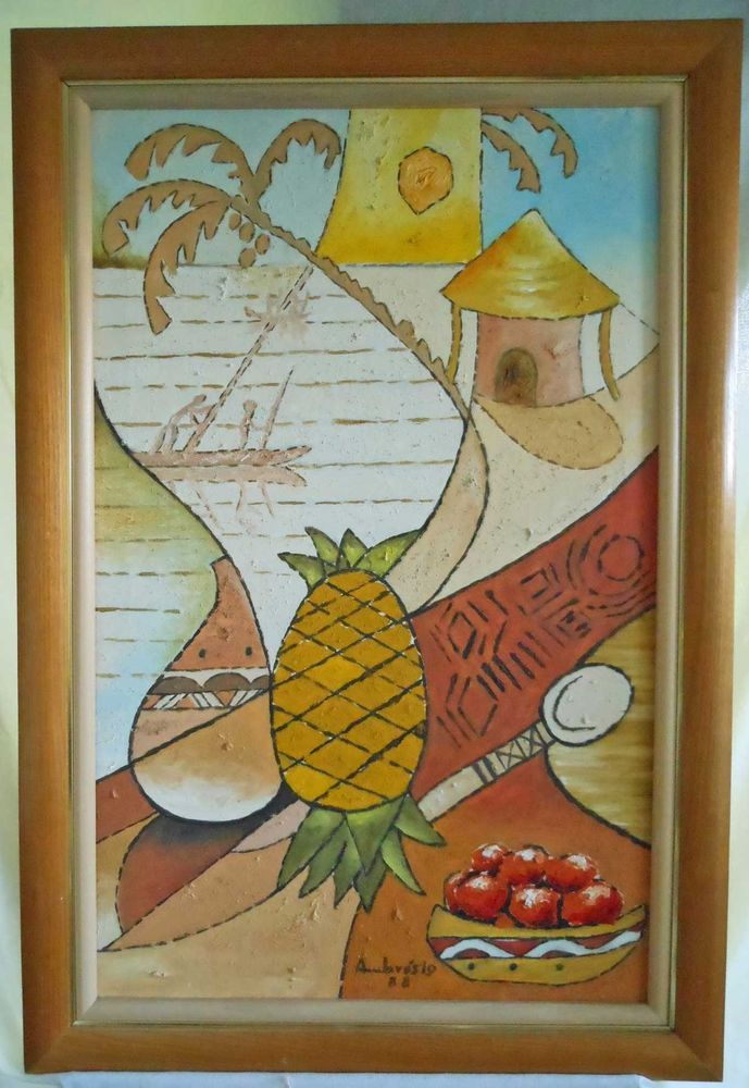 Polynesia Painting Cubist Tropics Ambrosia Polynesian Large Vintage Original Oil #Cubism