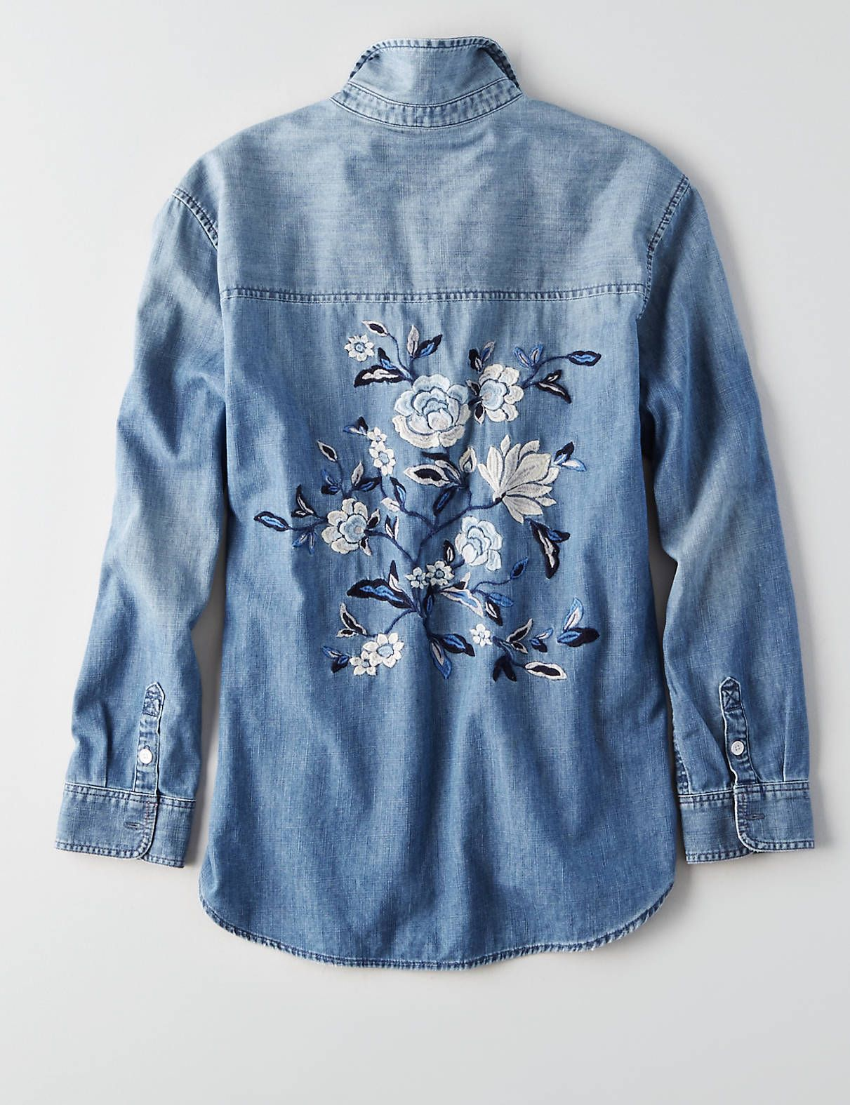 0cf24920 AEO Embroidered Denim Shirt , Medium Wash | American Eagle Outfitters
