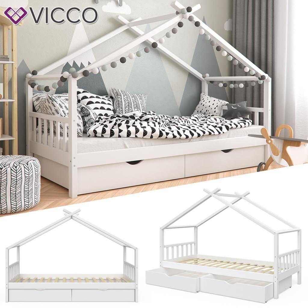 Kinderbett VICCO Kinderbett Hausbett DESIGN 90x200cm mit