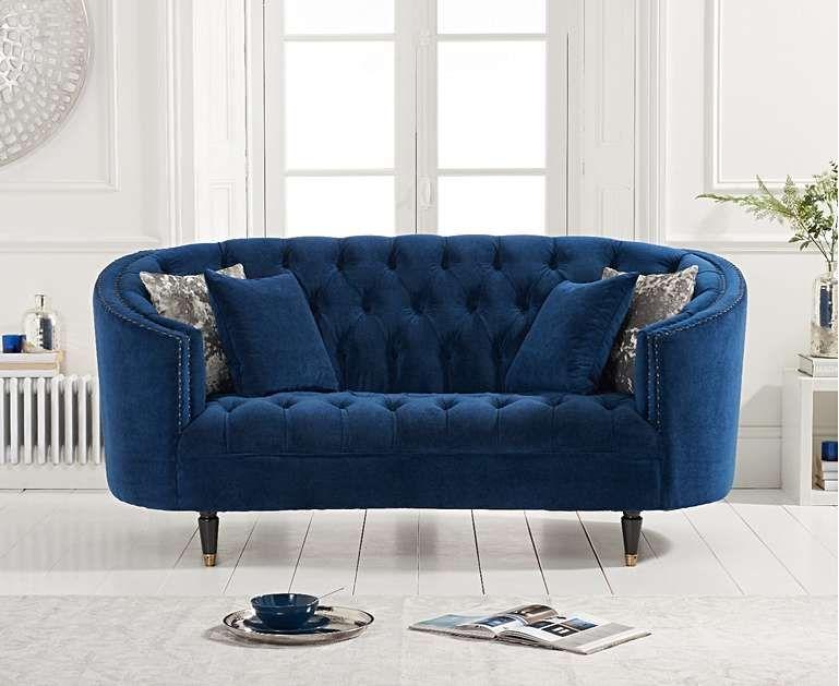 2 Seater Velvet Sofa Blue Lokka Blue Velvet Sofa Velvet Sofa Elegant Sofa