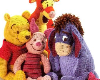 Piglet Amigurumi Free Pattern : Digital download pdf vintage crochet pattern winnie the pooh tigger