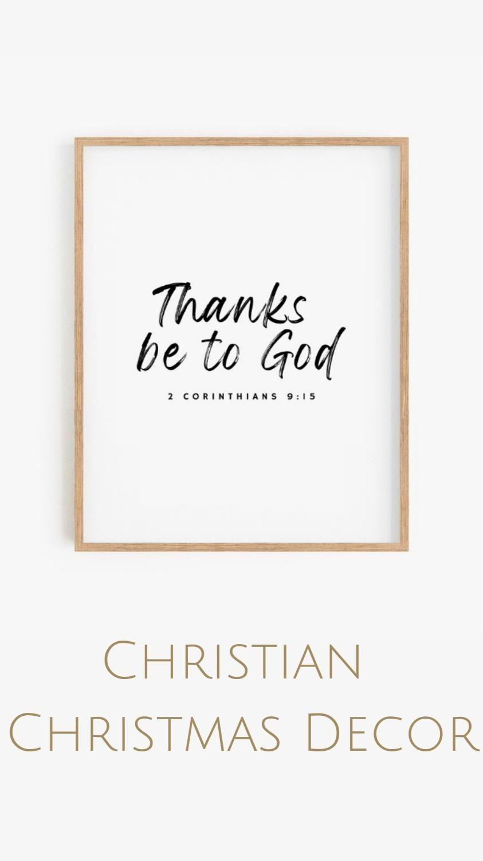 2 Corinthians 9:15, Thanks Be To God, Christmas Holiday Wall Art Printable, Christian Christmas Gift