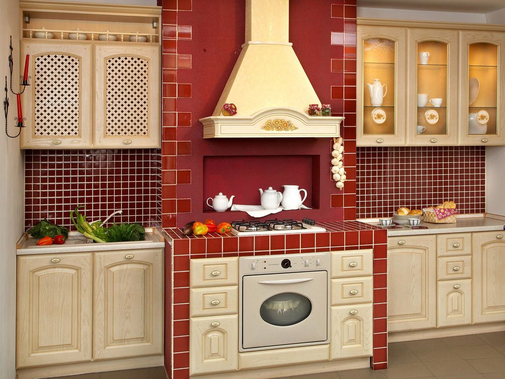 Brick Kitchen Design : Furniture Classic Decoration Idea For Kitchen With  Red Brick Wall Shaped