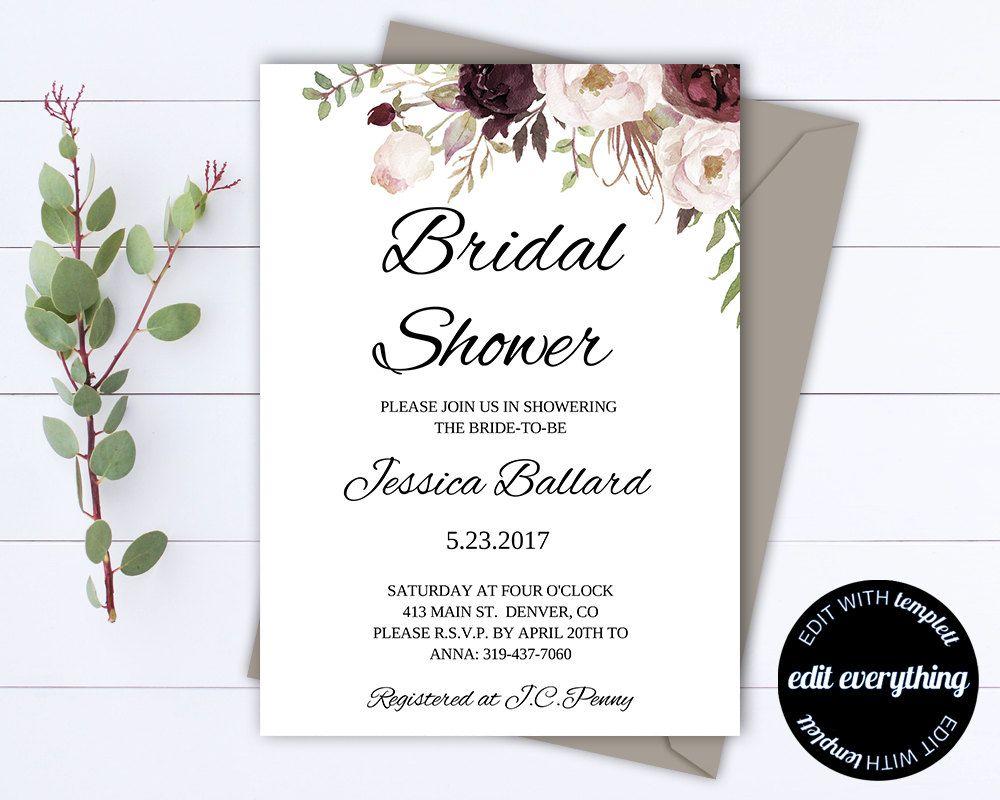 Floral Bridal Shower Invitation Template  Floral Bridal Shower