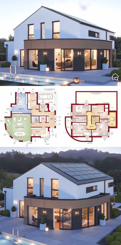Fertighaus Modern Mit Satteldach Architektur Erker Balkon 5 Zimmer Grundriss 165 Qm Mit Carport Garage Pool In 2020 Modern Floor Plans Plans Modern Family House