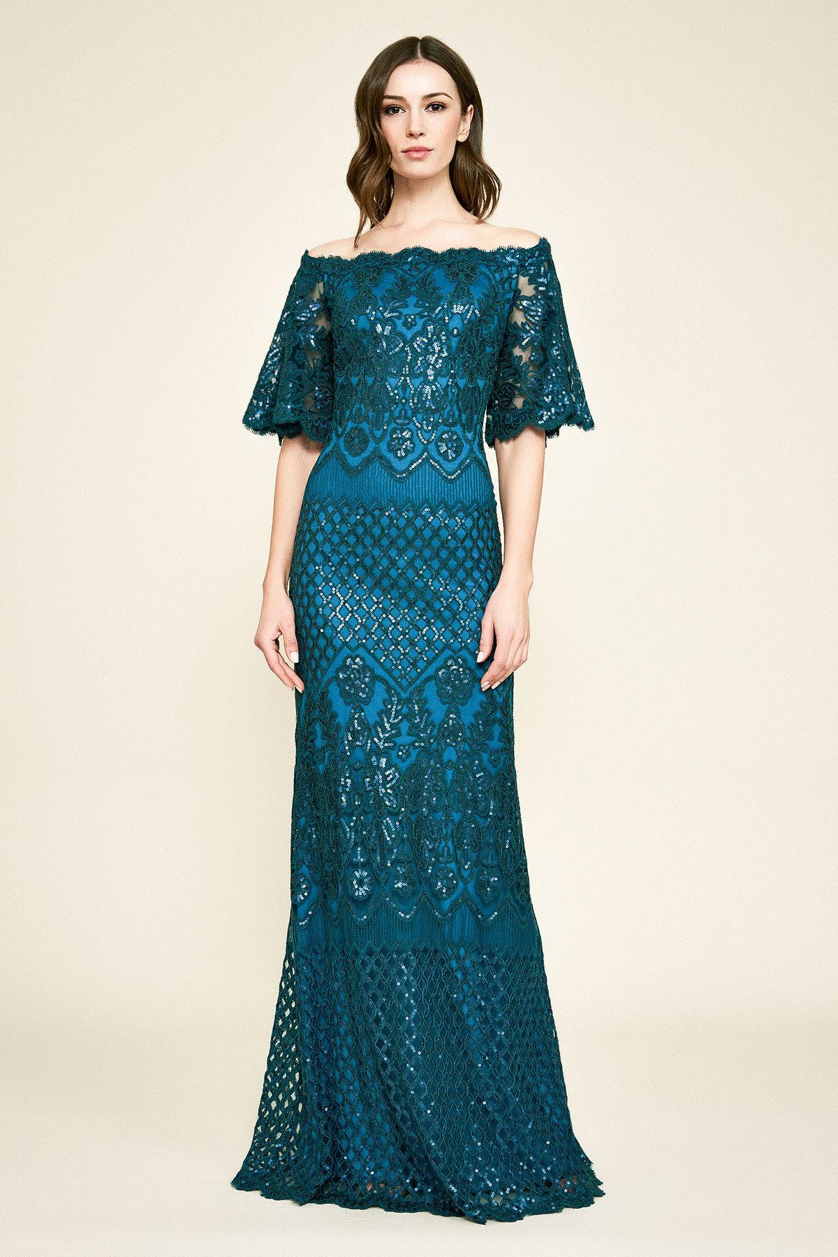 3b0225ba00 Aimee Off-The-Shoulder Sequin Embroidered Gown | Tadashi Shoji | Mum ...
