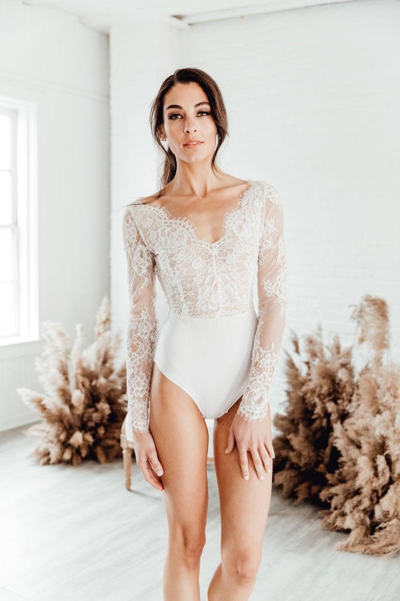 Vivianne Bodysuit Wedding Separate V Neck Wedding Dress Classic Wedding Dress Long Sleeve Wedding Dress Lace Wedding Dress Bridal Bodysuit V Neck Wedding Dress Wedding Bodysuit