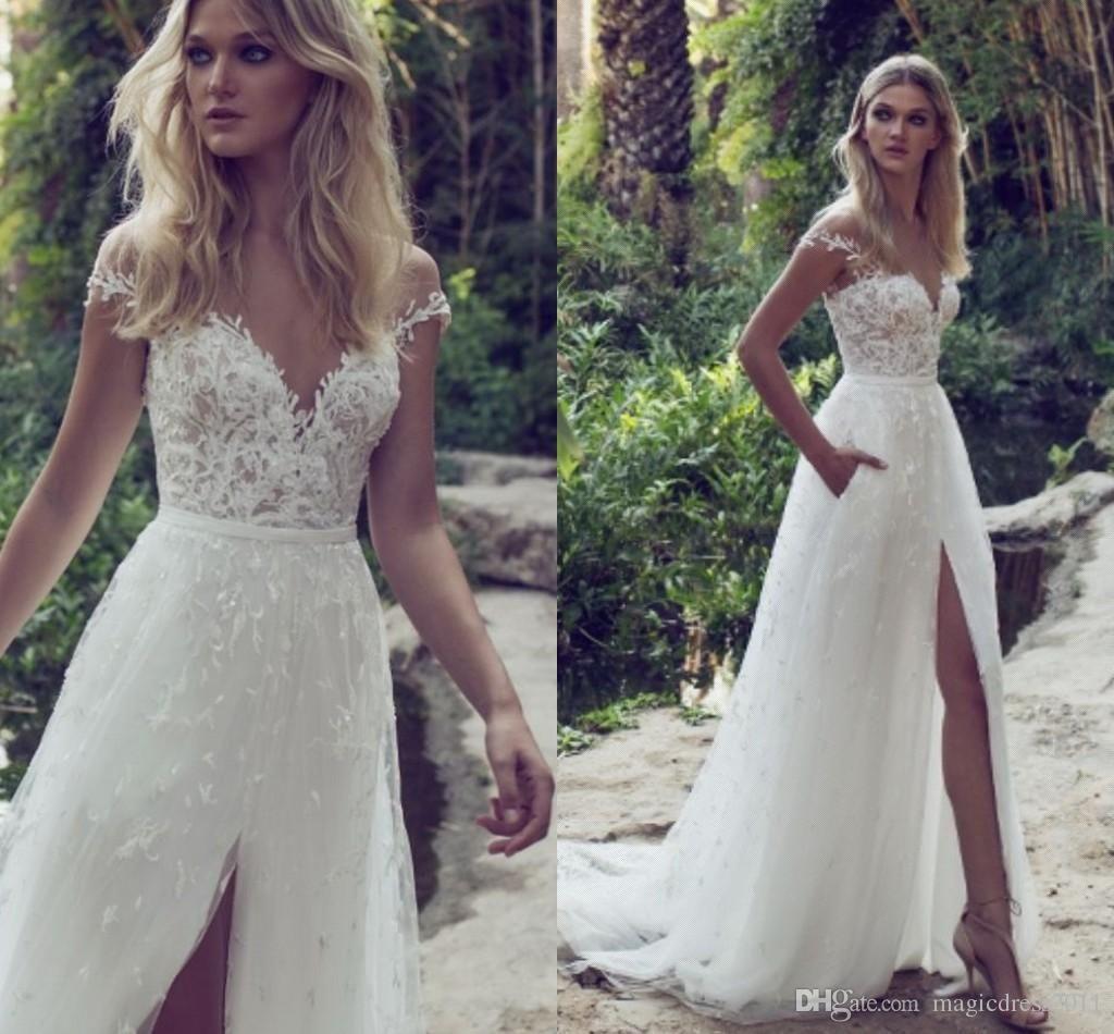 Limor Rosen 2017 A-Line Lace Wedding Dresses Illusion Bodice Jewel ...