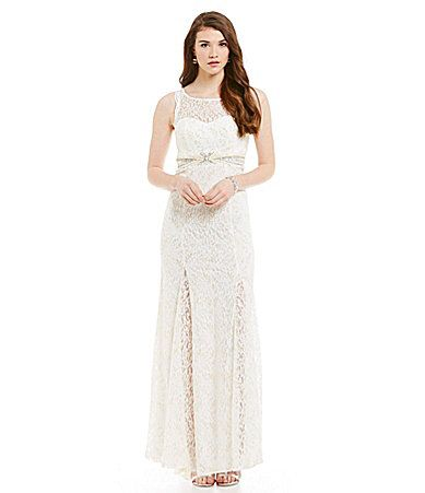 80a5f25efd9 Sequin Hearts Illusion Yoke Foil Lace Pearl Waist Cut Out Back Gown   Dillards