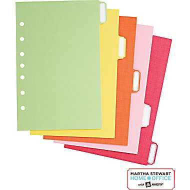 """Martha Stewart Home Office™ with Avery™ Small-Format Paper Dividers Assorted, Classic,5-1/2"""" x 8-1/2"""