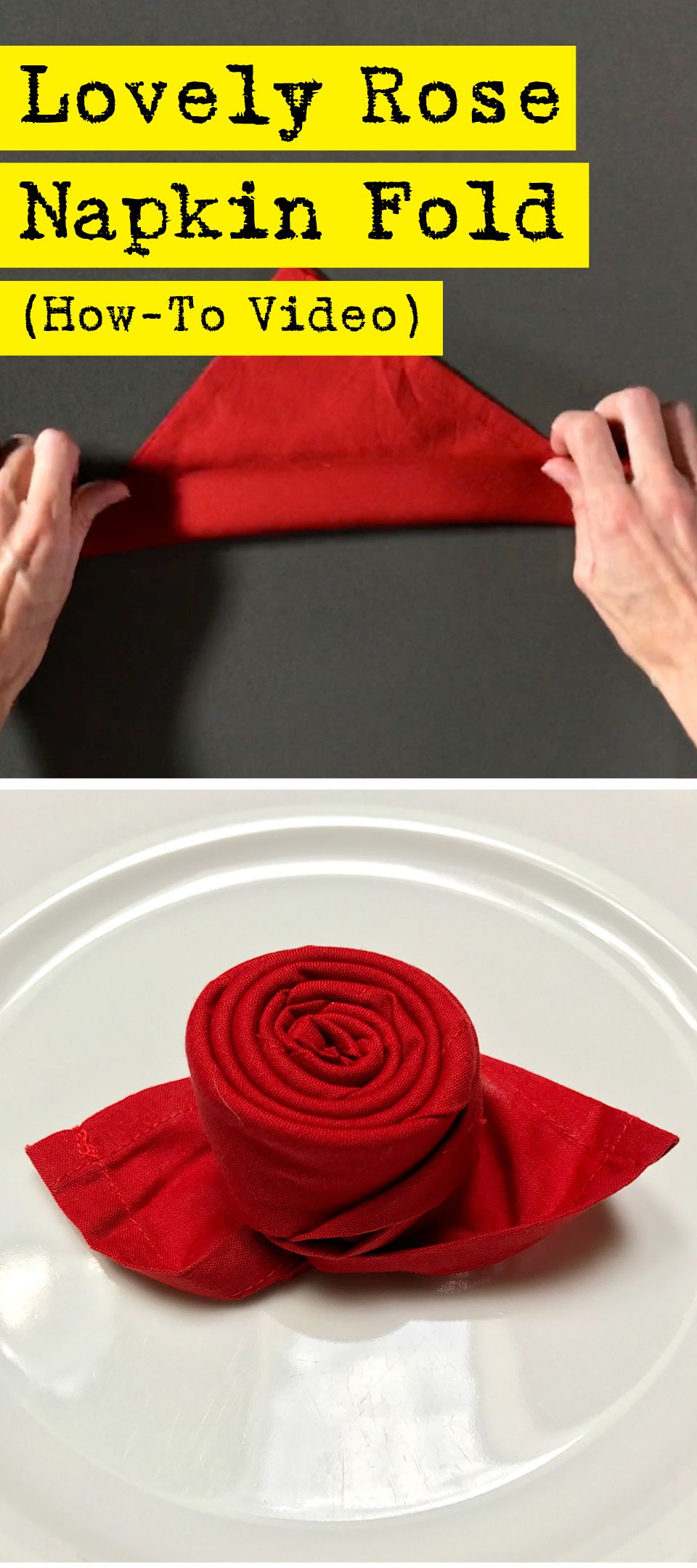 Impress Your Dinner Guests With This Lovely Rose Napkin Fold Napkin Folding Dinner Napkins Napkin Rose