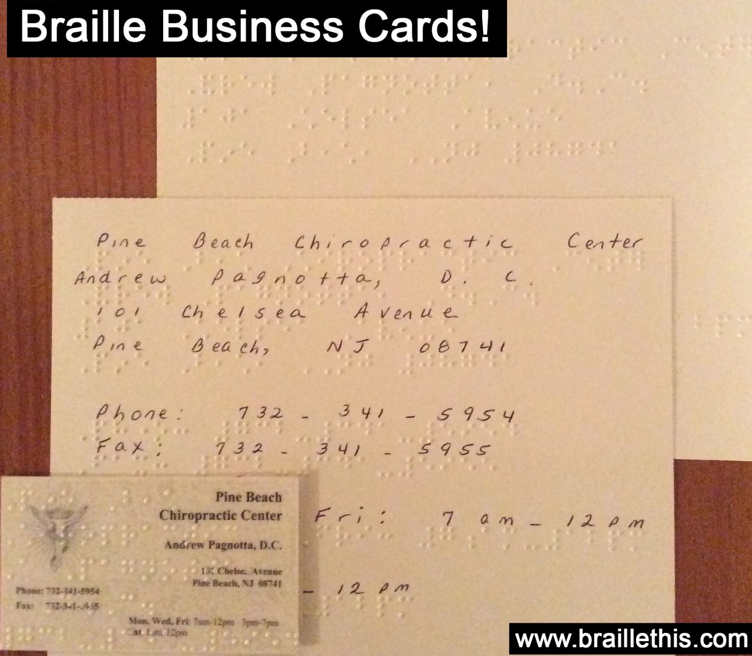 Braille Business Cards Braille Chiropractic Center Business