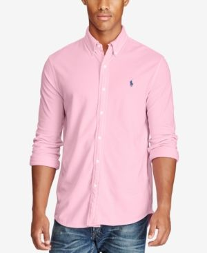 0a4a745d Polo Ralph Lauren Men's Featherweight Cotton Mesh Shirt, Only at Macy's -  Carmel Pink XXL