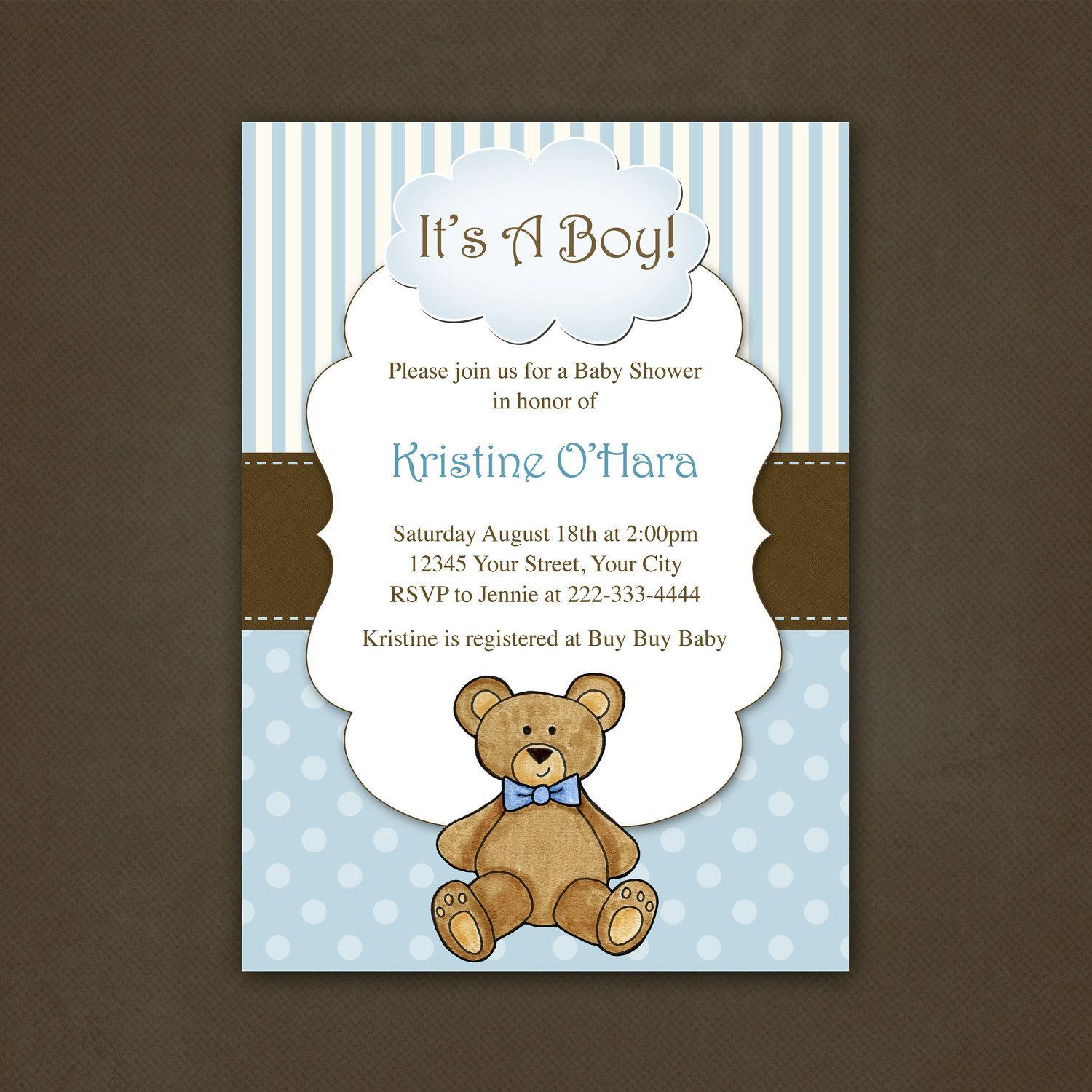 Boy Teddy Bear Baby Shower Invitation Printable File. $12.00, via Etsy.