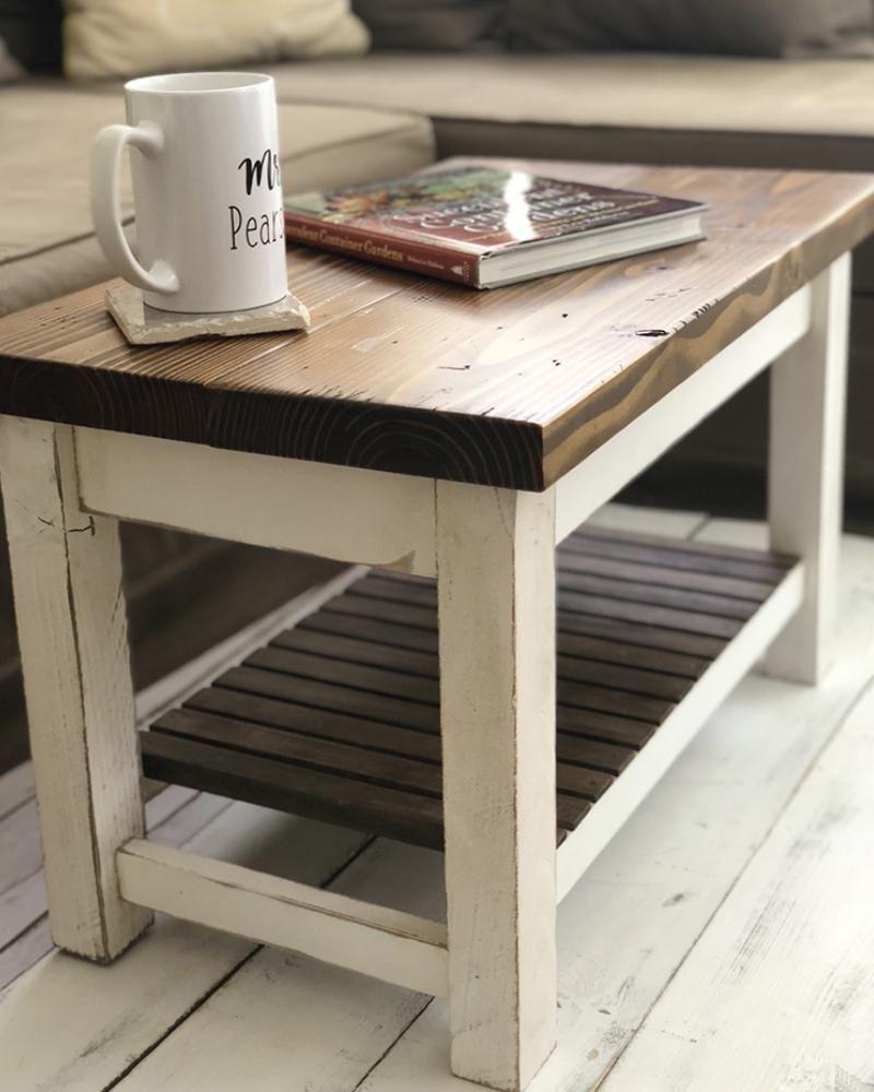 The Headhouse Table Farmhouse Coffee Table With Shelf Wood And Spool Coffee Table Farmhouse Coffee Table Wood Wood Farmhouse Coffee Table