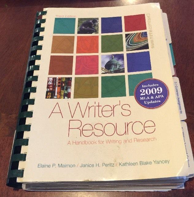A Writers Resource Handbook For Writing Research Maimon E Peritz J Yancey K