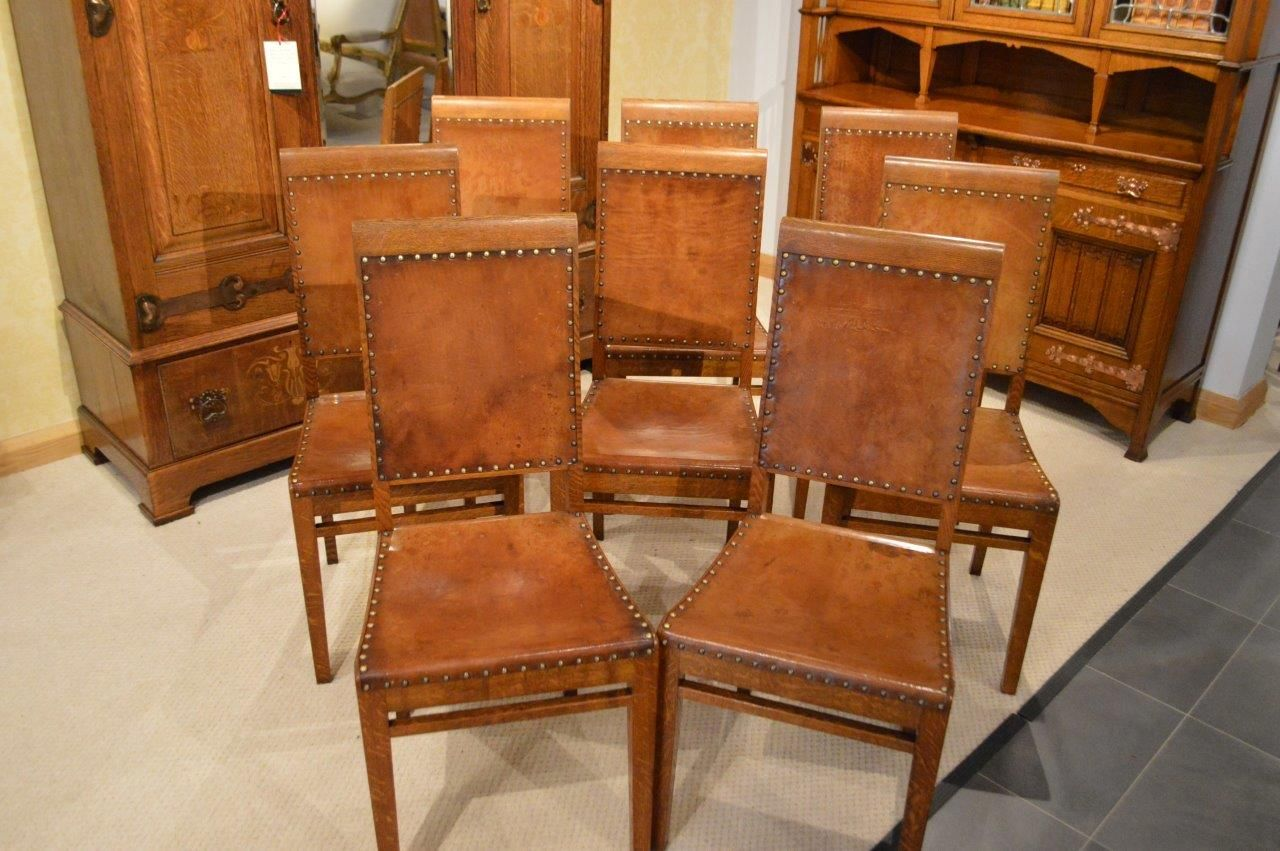 A rare set of 8 oak antique dining chairs by Arthur Simpson of ...