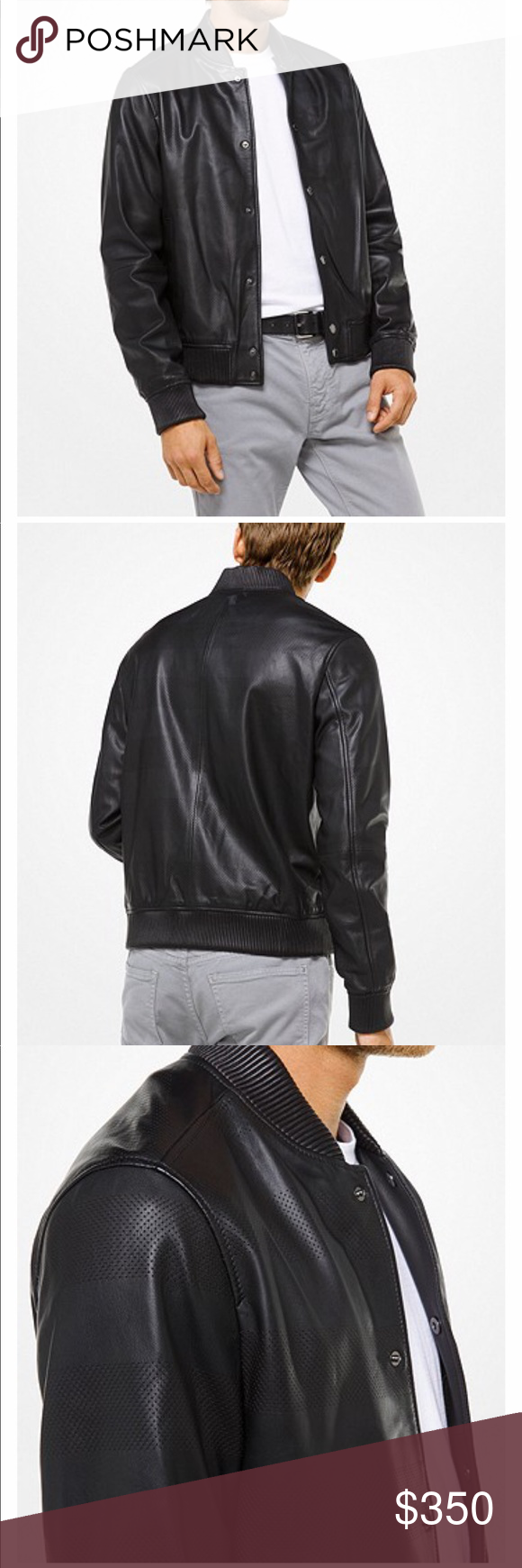 f7135af0e883 Michael Kors Men s Leather Jacket Michael Kors Perforated Leather Bomber  Style  CSS88CCG4LK A modern take on an iconic silhouette