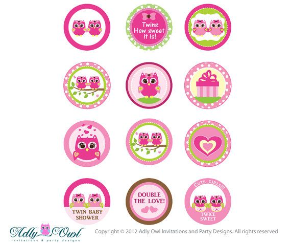 pink or purple twin girl owl baby shower cupcake toppers or favor, Baby shower invitation