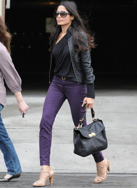 Purple trousers. Denim. Black leather | Eclectic style | Pinterest ...