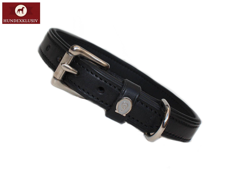 Klassisches Hundehalsband Schwarz  Zeitlose Eleganz versprüht das klassische Hundehalsband Schwarz. Echtes Leder und Schließen aus reinem Edelstahl verwandeln dieses Hundezubehör in ein Qualitätsprodukt. Das klassische Hundehalsband Schwarz wird in der Sattlerei Otto Schumacher hergestellt, es enthält keine Schadstoffe wie PCP und PPC.