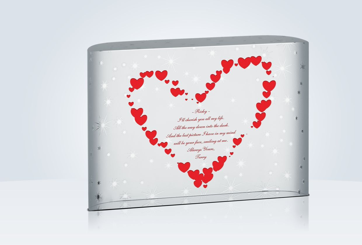 "Crystal Wedding Anniversary Gifts For Her: ""Stars Of Love"" Crystal Plaque"