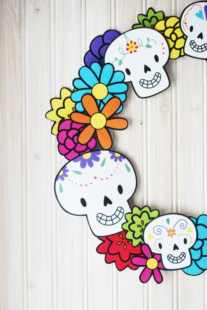 Printable Dia de los Muertos Wreath Dia de, Wreaths and Holidays - copy dia de los muertos mask coloring pages