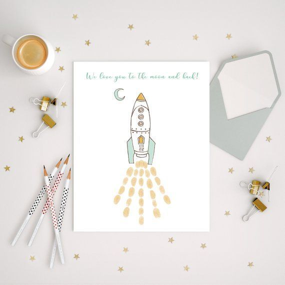 Boy Rocketship Fingerprint Guestbook Love You To The Moon And Back Baby Shower Space Theme Thumbprint Sign Boy Birthday Welcome Guestbook