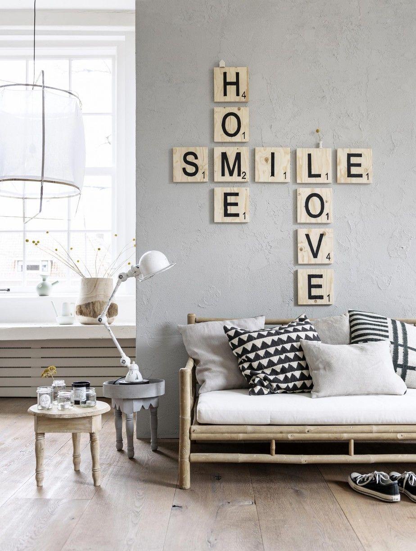 Sierletters Voor Op De Muur.Houten Letters Lichte Kleuren Gecombineerd Met Hout Home
