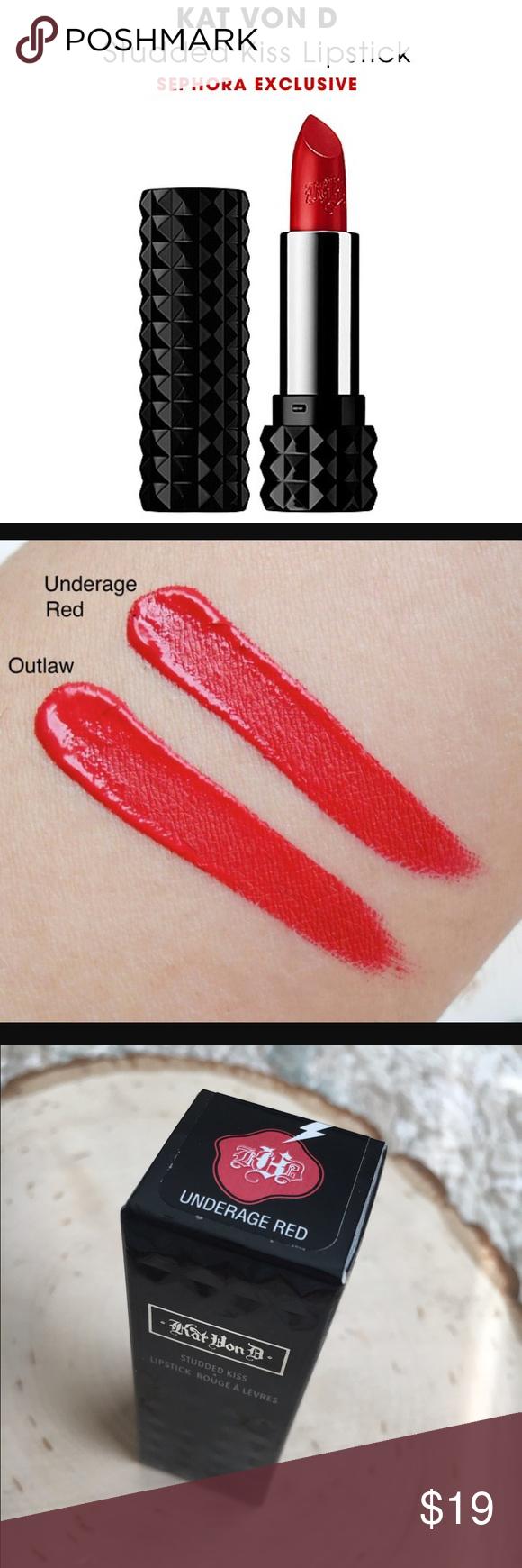 Nwb kat von d underage red studded kiss lipstick! nwt   Kat von ...