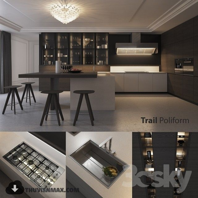 3d kitchen model 14 free download with images  small