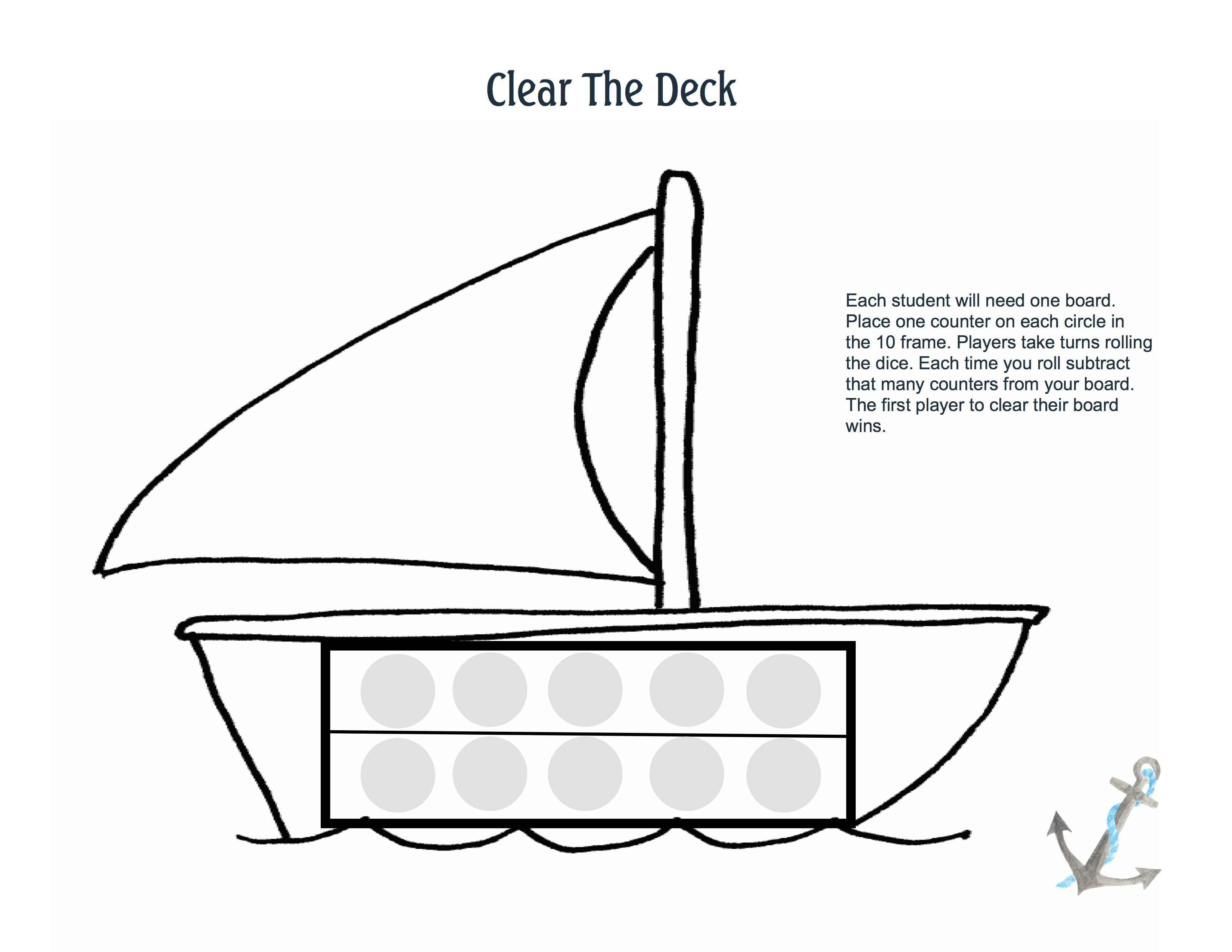 Clear The Deck 10 Frame Subtraction Game