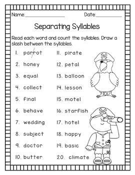 syllable patterns v cv vc v and vc cv no prep worksheets