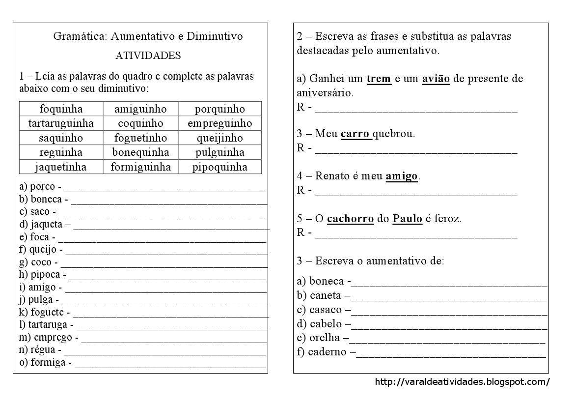 Varal De Atividades Gramatica Aumentativo E Diminutivo