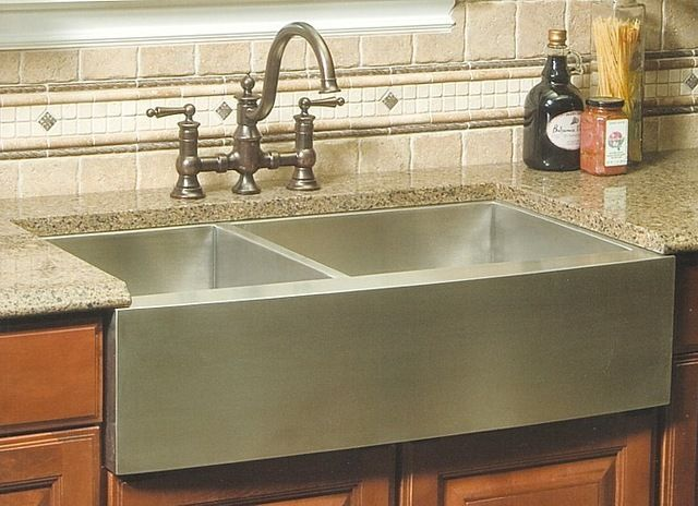 $499.99 36 Inch Stainless Steel Curved Front Farm Apron Undermount. 40/60  Double Bowl Kitchen Sink Modern Kitchen Sinks. Sold By EModern Decor  Manufactured ...