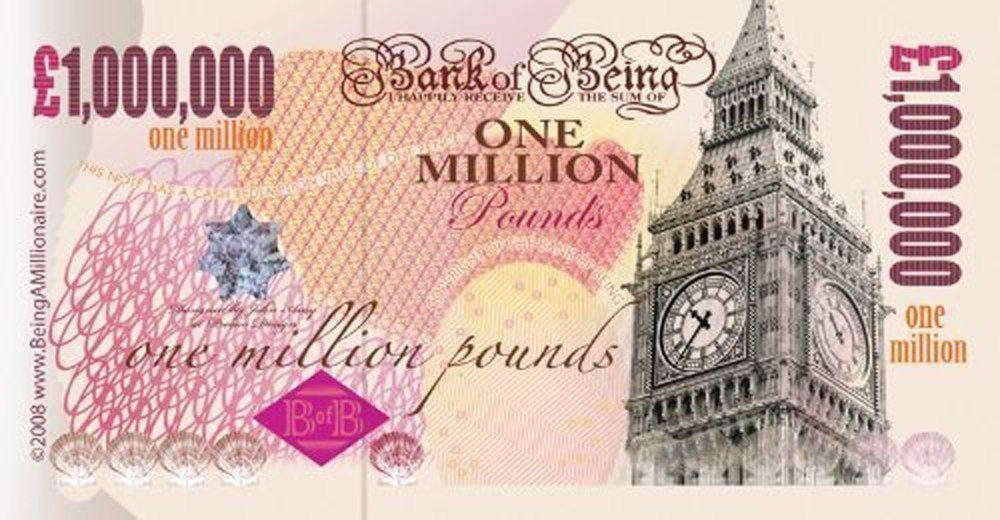 Fake 1,000,000 note Crisp glossy feel of a freshly printed