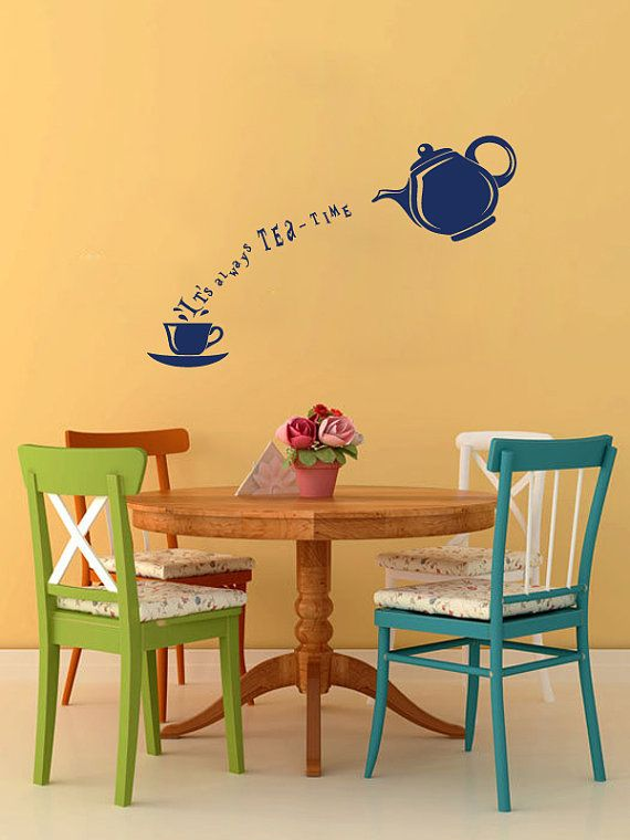 Vinyl Decals Always Tea Cup Teapot Time Home Wall Decor Removable ...